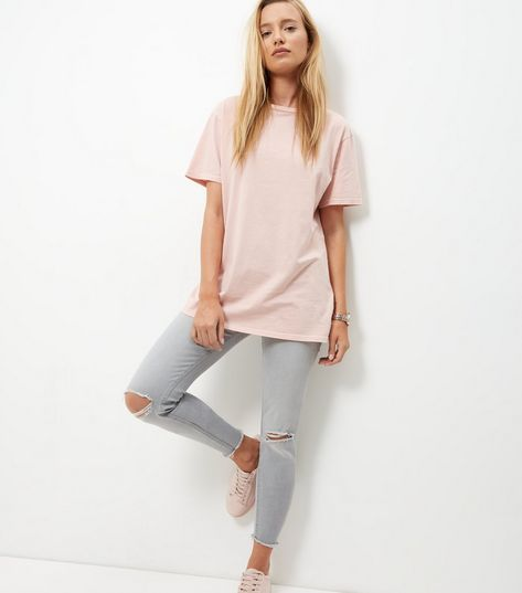 Shell Pink Washed Boyfriend T-Shirt  | New Look