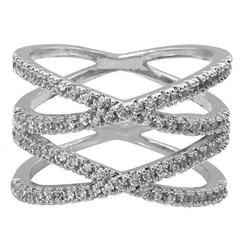 Real 925 Sterling Silver /& Clear CZ Crystal Criss Cross Ring Sizes K X