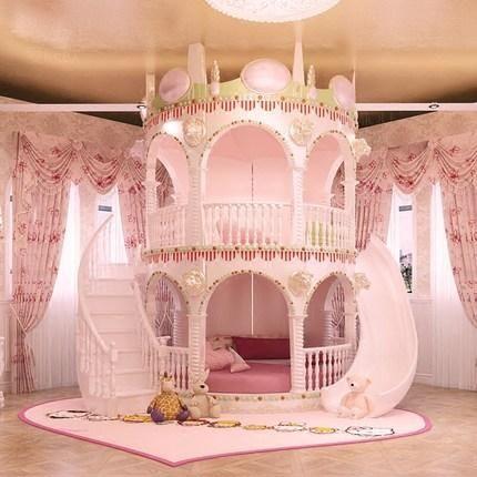 Bedroom Princess Girl Slide Children Bed Lovely Single Pink