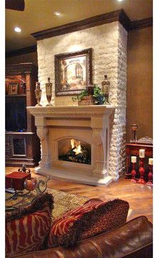 Athens fireplace mantel mediterranean living room home for Mediterranean fireplace designs