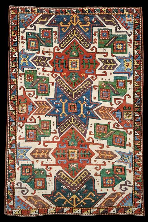 Star Kazak rug with a white ground, 1884.