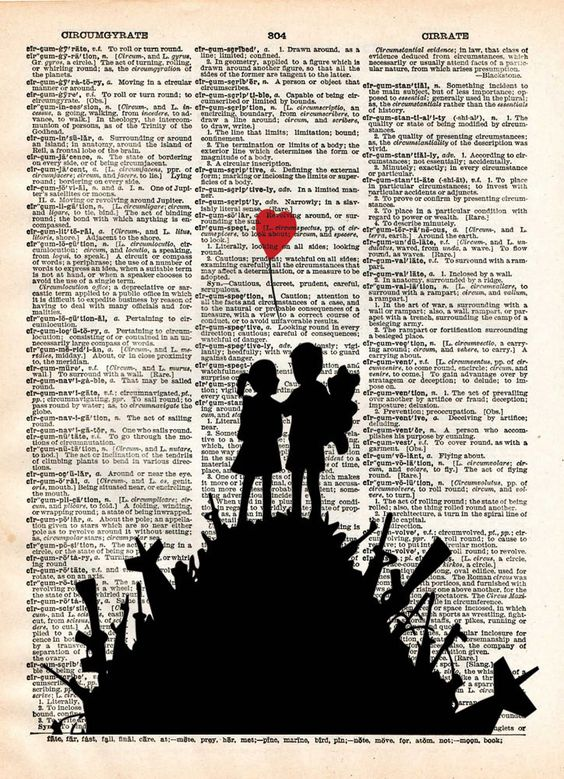 Banksy Children on guns art, revolution street art , vintage dictionary page book art: