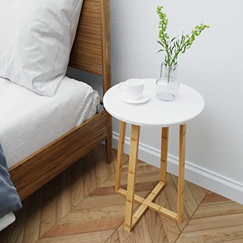 Amazing Offer On Bameos Side Table Modern Nightstand Round Side End Accent Coffee Table Living Room Bedroom Balcony Family Office 15 7inx23 4in Online Top In 2020 Modern Side Table Living Room