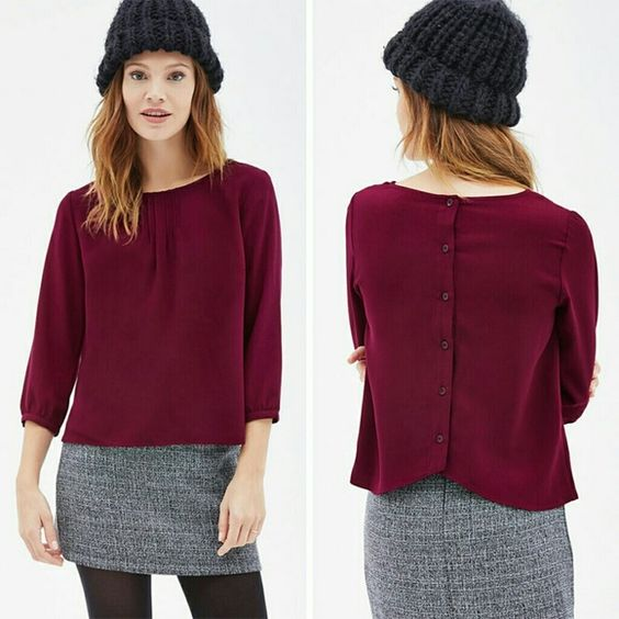 """Button-Down Back Blouse Magenta Purple Top Features sweet pintuck detailing around the neckline, button down back closure, and 3/4 cuffed sleeves. Measures about 19"""" across the chest and 22"""" long. Forever 21 Tops Blouses"""