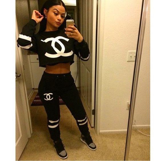 India Westbrooks Pretty Girl Swag Chanel Two Piece Set Crop Top Jumper Tracksuit Bottoms Jordans 1 Grey Black Style Trend Fashion Fashionista Urban Streetwear Swag Dope Fein Boutique Shopdopefein
