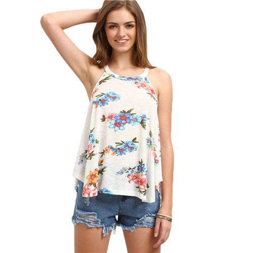 Ladies Multicolor Floral Printed Sleeveless Round Neck Halter Tank Top