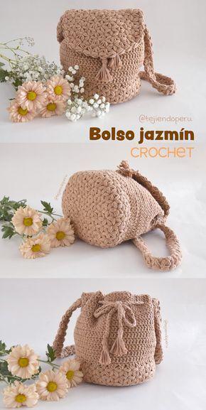 Bolso Jazmín Tejido A Crochet Paso A Paso En Video Tutorial Crochet Bag Tutorials Crochet Weaves Crochet