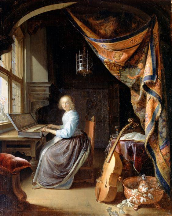 Clavicordio, Viola da gamba (Gerrit Dou):