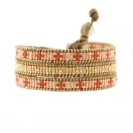'Eva Cassidy' Tan leather entwined with coral and gold Japanese mijuki beads
