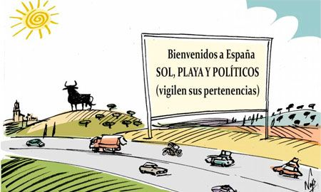 Llegan las vacaciones a España: sol, playas y políticos.... #humor #crisis #nosrobanlacartera: