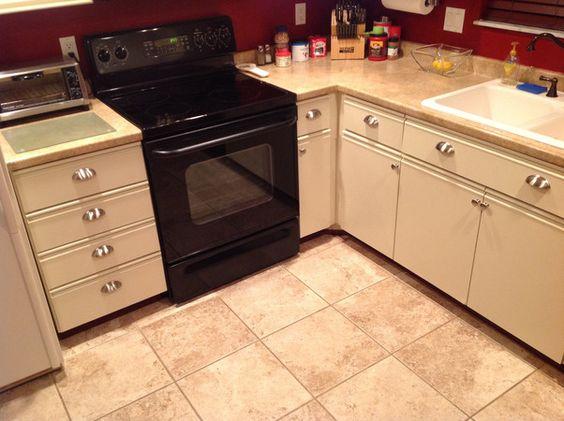 redo ugly 80s oak-trim laminate kitchen cabinets for under $50