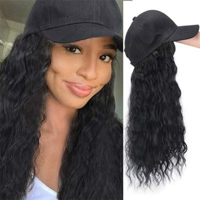 Black Fashion Patchwork Long Curly Wig Hat Womens Wigs Wig Hat Hat Hairstyles