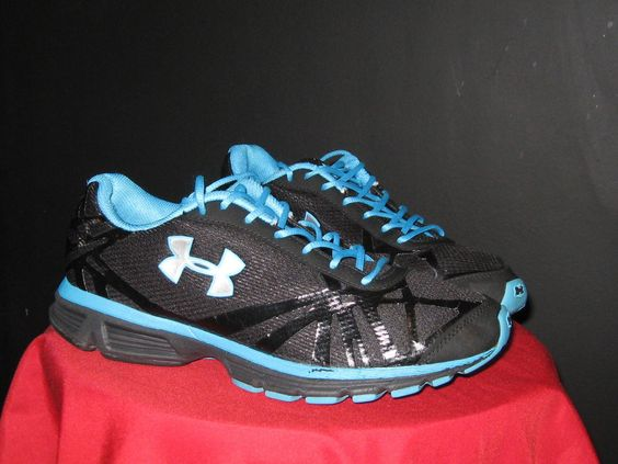 Women's Under Armour Reign Running Shoes 1223212-001 Size 9.5 Black/Blue/Silver #UnderArmour #Running #CrossTraining #yoga #fitness