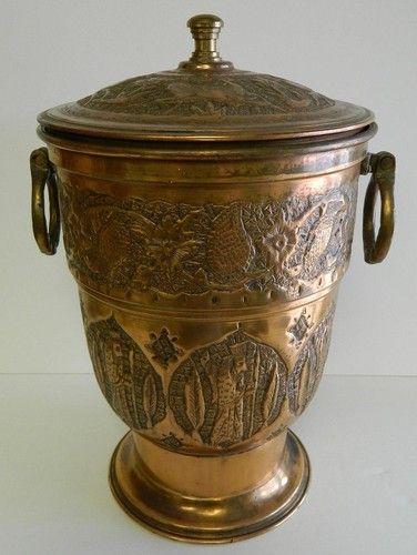 Brass Copper Ice Bucket Nader Hand Hammered Tehran Iran Pot Vintage | eBay