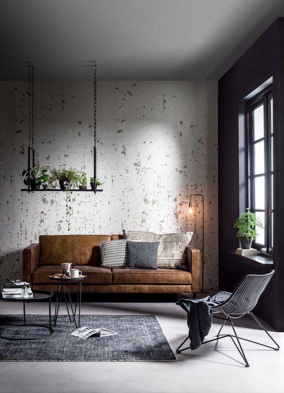 Modern Scandinavian Living Room In Industrial Design Industrial Living Room Design Living Decor Industrial Interior Design