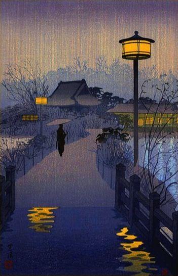 Evening rain on Shinobazu pond, by Shiro Kasamatsu, 1938 - See also at : http://www.hanga.com/viewimage.cfm?ID=2608. Shiro Kasamatsu, (Tokyo, 11 janvier 1898 – 14 juin 1991), est un artiste et peintre japonais appartenant à l'école Shin-Hanga et Sosaku-Hanga.