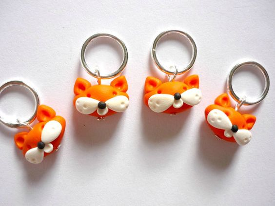 Fox stitch markers set of 4 snagfree by AbsoKnittingLutely on Etsy, £8.00