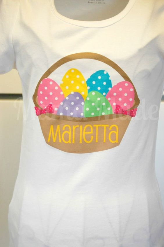 Personalized Easter Basket Shirt or Bodysuit Size by mamamadebows, $15.00+