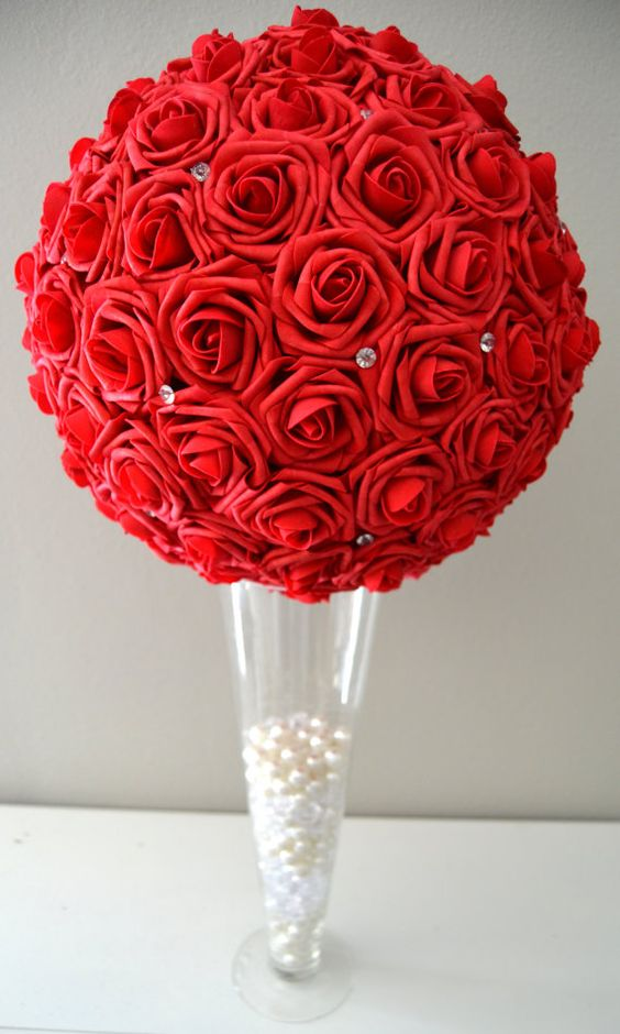 Red foam flower ball with diamond rhinestone gems wedding