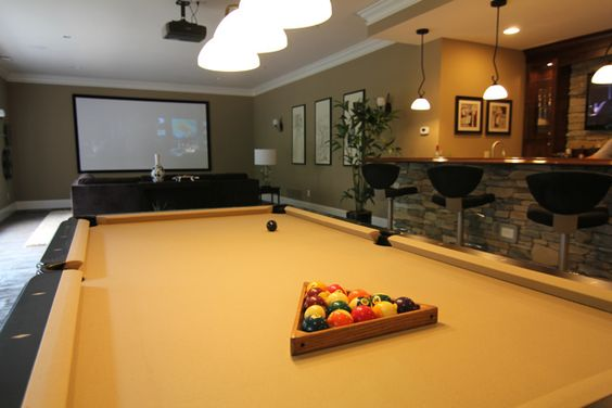 Man Cave With Projector : Pool table and projector are great compliments to the