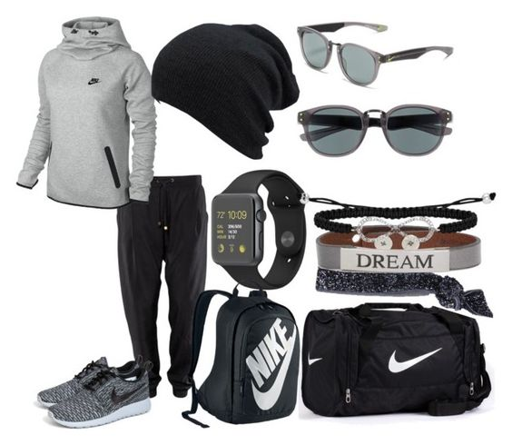 """Untitled #244"" by wolfiedeeleemtz ❤ liked on Polyvore featuring NIKE, Glam Bands and Good Work(s)"