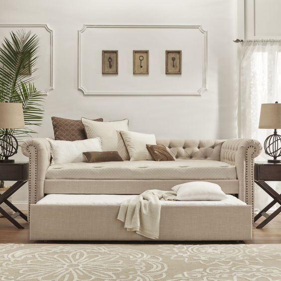 Overstock Daybeds With Trundle : Knightsbridge tufted scroll arm chesterfield daybed and