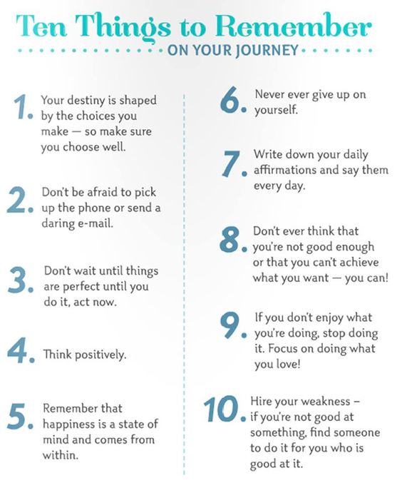 10 things to remember on your journey to health and wealth.