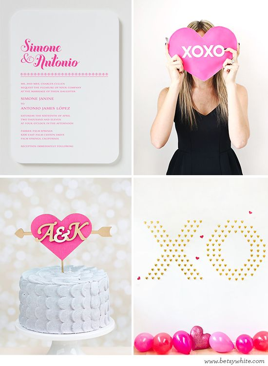 Fun Fuchsia Valentine Wedding Inspiration, featuring our Bella #weddinginvitation