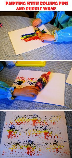 Using a mini rolling pin and bubble wrap to paint.