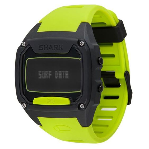 Shark Tooth, Black Face, Yellow Silicone Strap