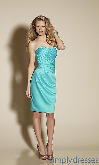 Knee Length Strapless Bridesmaid Dress by Mori Lee at SimplyDresses.com