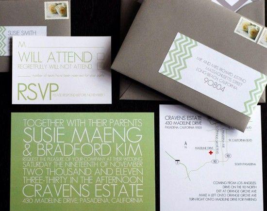 Susie + Bradford's Modern Chevron Stripe Wedding Invitations: Wedding Color, Grey Wedding, Chevron Pattern, Wedding Invitation, Color Palette, Green Wedding