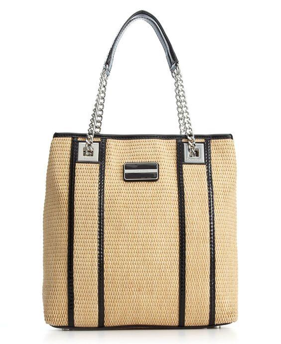 Calvin Klein Handbag, Laguna Straw Tote - Calvin Klein - Handbags & Accessories - Macy's