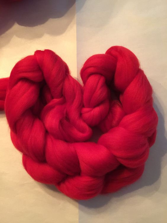 Little Braids of Fluff - Rasberry- Four Ounce Braids of 23 Micron Combed Top Merino
