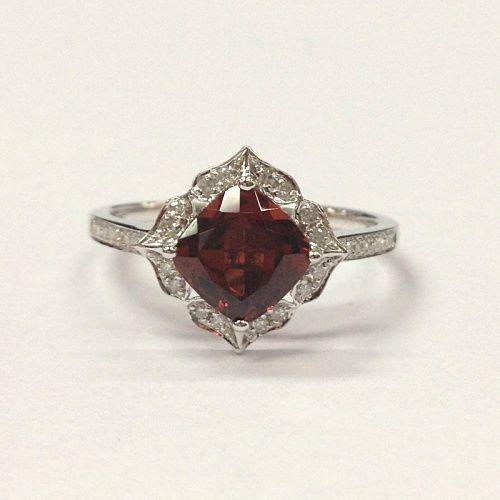 $359 Cushion Red Garnet Engagement Ring Pave Diamond Wedding 14K White Gold 7mm  Art Deco