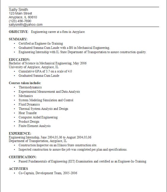 Example College Resumes Resume Objective Examples For Student