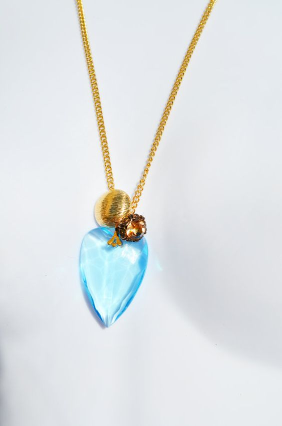 Wire Wrapped Blue Heart Steampunk Jewelry by theELEPHANTpink, $21.99