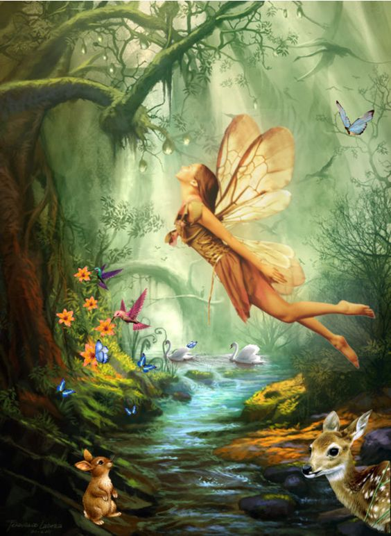 Image result for angel with gold wings watching over her forest