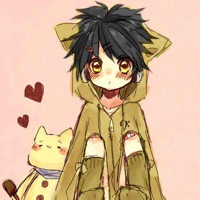 little boy in a neko coat random anime people