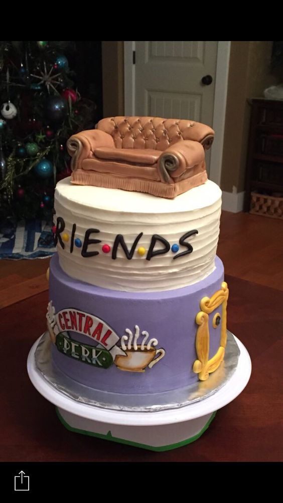 Friends Cake Both Tiers Are A Zebra Marble Cake With