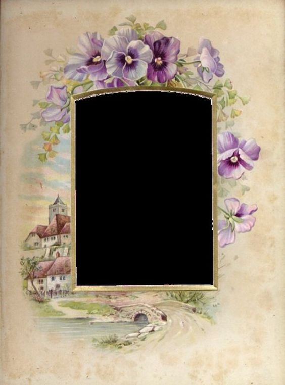Victorian pansy frame for tag or place card or invitation