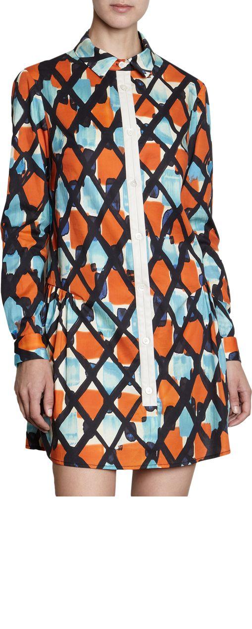 Thakoon Printed Drop Waist Dress