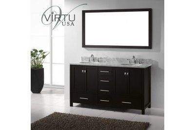 "Virtu USA GD-50060-WMRO 60"" Caroline Avenue Double Round Sink Bathroom Vanity"