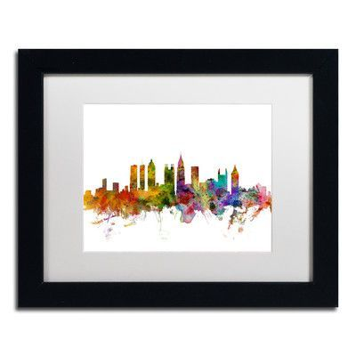 Mercury Row 'Atlanta Georgia Skyline' by Michael Tompsett Framed Graphic Art Size: 1