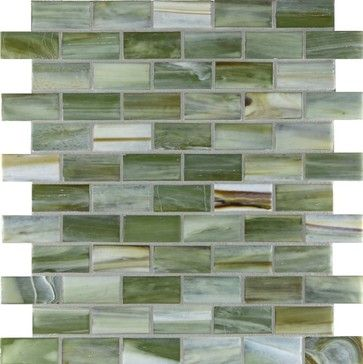 """Forest Land 1"""" x 2"""" Green Pool Frosted Glass - Tile - Glass Tile Oasis"""