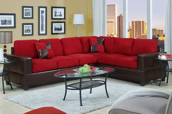 Lovely Red Leather Living Room Furniture