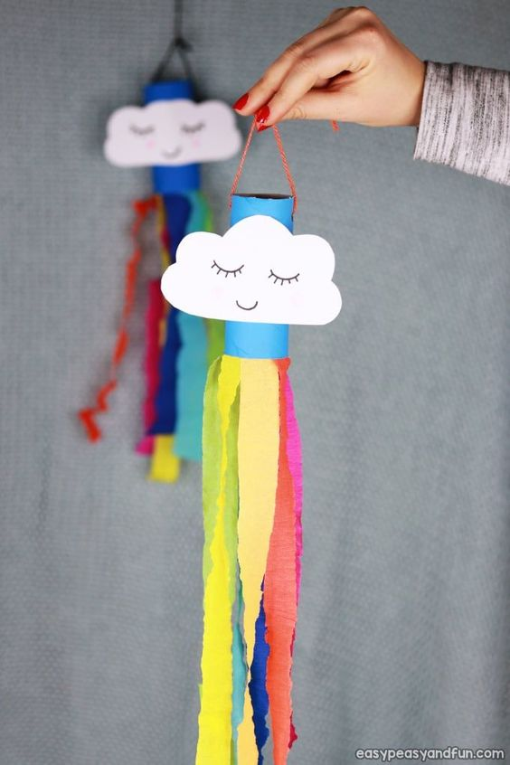 Rainbow windsock toilet paper roll craft  | Toilet paper roll crafts for kids