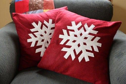 : Christmas Decoration, Noodlehead Snowflake, Christmas Pillow, Snowflakes Pillow