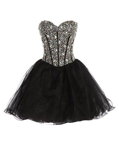 GRACE KARIN Black Strapless Sequins Homecoming Dresses Short CL3520-2 Size 2