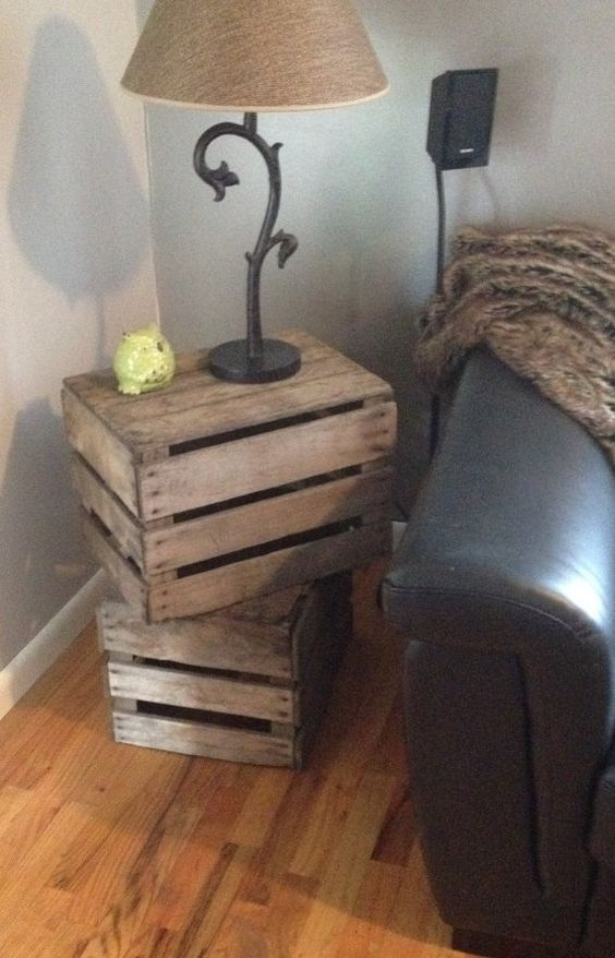 Stacked Crate Side Table or End Table by OldMotherCupboard on Etsy   Ideas    Pinterest   Crate side table  Crates and Etsy. Stacked Crate Side Table or End Table by OldMotherCupboard on Etsy